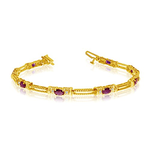 10k Yellow Gold Natural Ruby And Diamond Tennis Bracelet (8 Inch (10k Gold Ruby Bracelet)