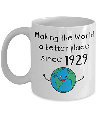 Making the World a Better Place Since 1929 Coffee Mug - 90th Birthday Gifts for Women - Present for 90 Year Old Men - Grandma Grandpa Parent - 11oz