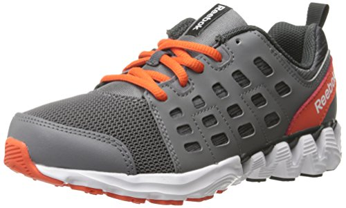 Reebok Zigkick Doom Running Shoe (Little Kid/Big Kid), Shark/Flat Grey/Ultima Orange/White/Gravel, 12 M US Little Kid