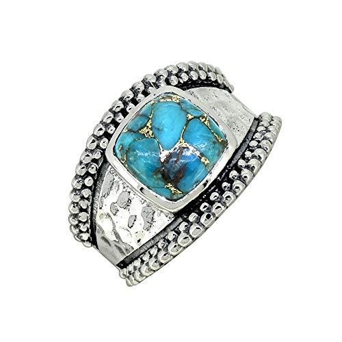 (YoTreasure Blue Turquoise Ring Solid 925 Sterling Gemstone Jewelry)