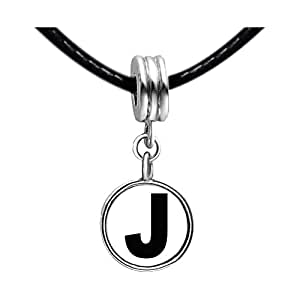Chicforest Silver Plated Black Letter J Photo Peridot Crystal August Birthstone Flower dangle Charm Beads Fits Pandora Charms
