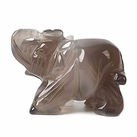 Carved Natural Agate Gemstone Elephant Healing Guardian Statue Figurine Crafts 2 inch - Grey Agate Stone