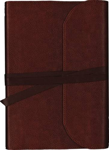 NKJV, Journal the Word Bible, Large Print, Premium Leather, Brown, Red Letter Edition: Reflect on Your Favorite Verses