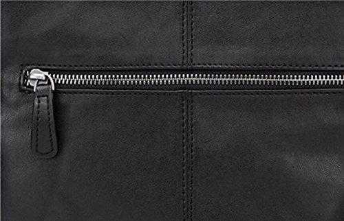 horizontal cremallera Ocio cuero solo desgaste hombro bolsa al Plaza Bolso de antiguo Surnoy negro resistente Macho Plaza x1w7SqwO
