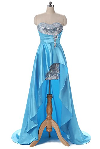 Elinadrs Women's Hi-Lo Strapless Evening Dress Satin Sweetheart Bridesmaid Gowns Light Sky Blue US6 (After Six Stretch Bridesmaid Dress)