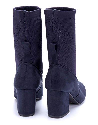 Schuhtempel24 Damen Schuhe Klassische Stiefeletten Stiefel Boots Blockabsatz Cut Out/Stretch/Schlupf 8 cm Blau