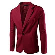 Pishon Men's Slim Fit Blazer Jacket Solid Cotton Casual One Button Sport Coats