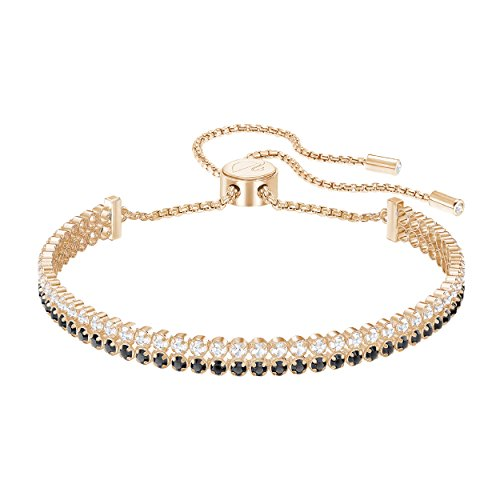 Swarovski Crystal Black Rose Gold-Plated Subtle Double Bolo Bracelet