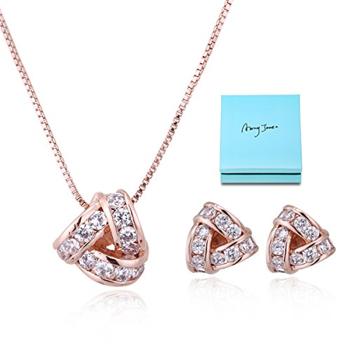 Bridal Jewelry Set for Women - 14K Rose Gold Plated Sterling Silver Crystal Cubic Zirconia CZ Love Knot Triangle Necklace Stud Earrings Elegant CZ Jewelry Set for Wedding Bride Bridesmaids Gift Set