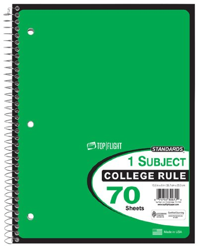 70 Sheet Notebook (Top Flight Standards 1-Subject Wirebound Notebook, 70 Sheets, College Rule, 10.5 x 8 Inches, 1 Notebook, Green Cover (30072))
