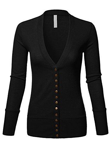 Mixed Knit V-Neck Brass Snap Button Sweater Cardigans Black Medium (Snap Black Womens)