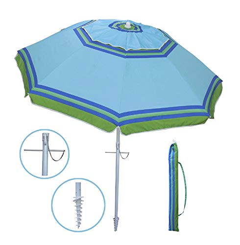 YATIO-7ft Beach Umbrella with Tilt and Integrated Long Sand Anchor,Windproof, Sun Protection SPF/UPF100+, Blue/Green Stripe Review