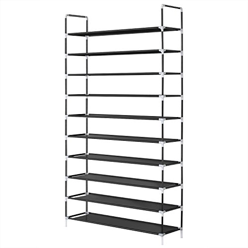 HERRON 10 Tier Shoe Rack, Large Capacity Shoe Organizer Holds 50 Pairs of Shoes, Non-Woven Fabric Shoe Shelf, Stackable Shoe Storage Rack for Entryway (Black3)