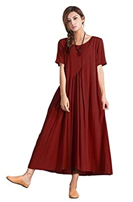 Sellse Women's Linen Casual Red Summer Large Size Fashion Dress Plus size Cotton Clothing