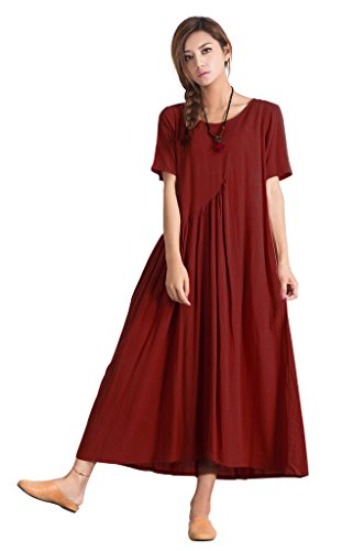 Sellse Women's Linen Casual Summer Fashion Dress Plus size Cotton Clothing,Red,X-Large (Red Table Cloths Linen)