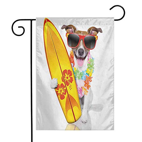 (seedine Outdoor Flag Farmhouse Lawn Ride The Wave Surfer Puppy with Sunglasses and Tropical Hibiscus Flowers Hawaiian Dog Print 12.5 x 18 Inch Multicolor)