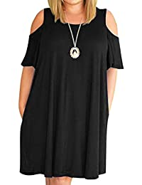 Women Plus Size Dresses Short Sleeve Cold Shoulder Casual...