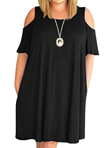 Ruffle Chest (Women's Casual Short Sleeve Off Shoulder Round Neck Loose Dress Plus Size 3X Black)