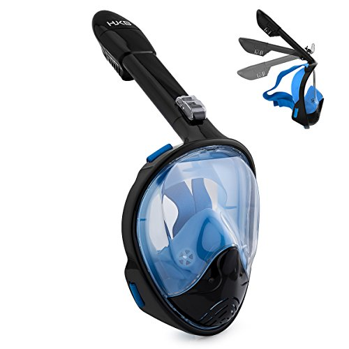 QARAMEL Snorkel Mask,180°Full Face Snorkeling Diving Mask Set with Panoramic View (Black/blue, L/xl)