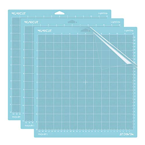 Monicut Lightgrip Cutting Mat for Cricut Explore One/Air/Air 2/Maker(12x12in, 3 pack)Adhesive&Sticky Non-Slip Flexible…