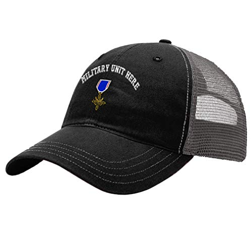 Custom Trucker Hat Richardson Distinguished Service Cross Embroidery Unit Cotton Soft Mesh Cap Snaps - Black/Charcoal, Personalized Text Here