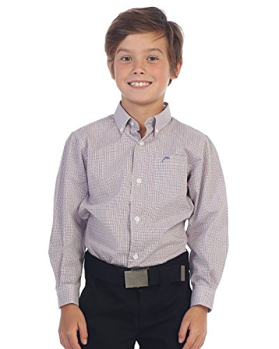 Gioberti Boys Long Sleeve Plaid and Stripe Dress Shirt