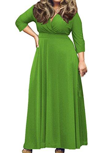 Maniche Cerimonia Abiti Partito V 4 Donna Scollo Vestito Vestiti Colore Abito Taglie 3 Cocktail Da Maxi Di Sera Verde Forti Solido qwTq71v