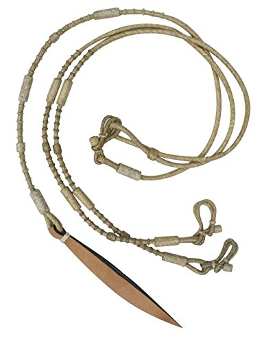 Showman Natural Rawhide Braided Romal Reins with Leather Popper. 9' Long with Leather Popper (Braided Rawhide Reins)