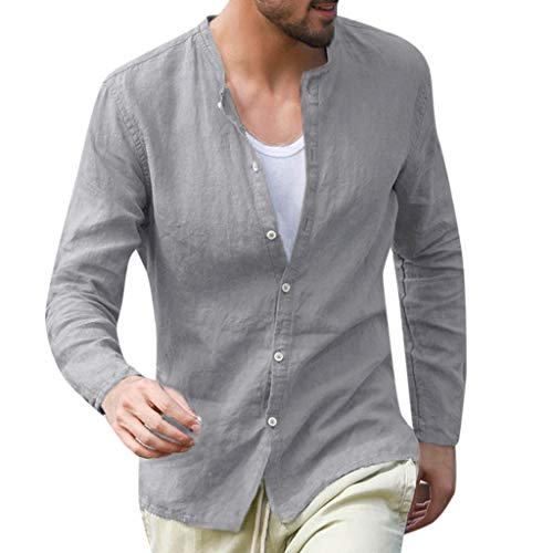 (MODOQO T-Shirt for Men,Summer Casual Solid Color Cotton Linen Button Down Long Sleeve Tees(Gray,CN-2XL/US-L))