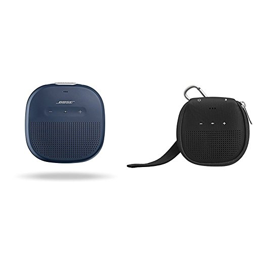 Bose SoundLink Micro Waterproof Bluetooth speaker (Midnight Blue) with AmazonBasics Case (Black)