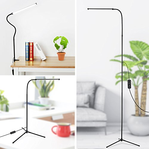 LED Floor Lamp, 3-in-1 Dimmable Standing Lamp Desk Lamp with C-Clamp and Tripod Base Eye-Care Energy Saving Reading Lamp with Flexible Gooseneck for Bedrooms Living Rooms Study