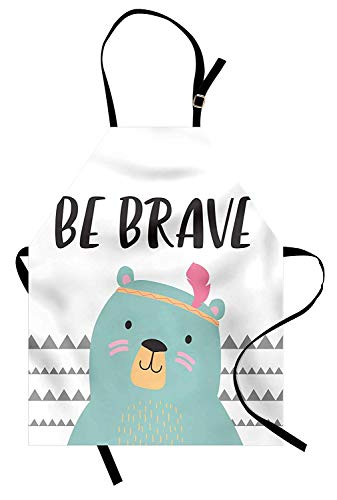 Be Brave Apron, Baby Bear with Feather Headband Says Be Brave on Geometric Triangles Backdrop, Unisex Kitchen Bib Apron with Adjustable Neck for Cooking Baking Gardening, Multicolor ()