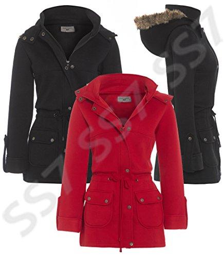 28 16 nouvelles Noir Rouge SS7 Tailles pour Manteau Taille Grande femmes Capuche Red UTTRqOz