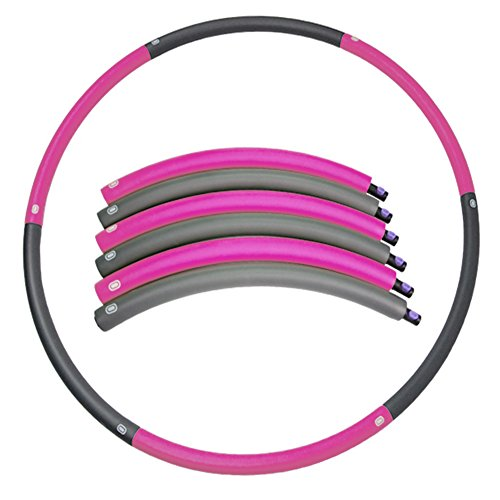 Detachable 2 Pounds Weighted Hula Hoop – Weight Loss Workout Equipment –Foldable Dancing & Twist & Stretch & Sweat - Dragon Flame (pink)