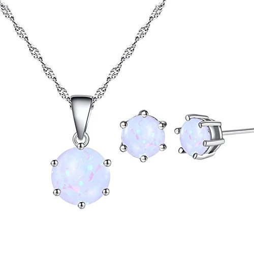 AILUOR Opal Jewelry Set, Sterling Silver Genuine, Created or Simulated Gemstone Round Halo Solitaire Pendant Necklace and Stud Earrings Set (White) (Opal Necklace Earring)