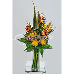 Silk Blooms Ltd Artificial Orange Bird of Paradise and Pin Cushion Arrangement w/Waxflower and Bamboo