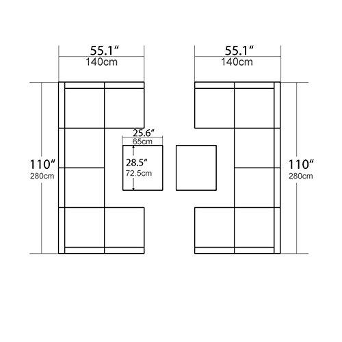 U-max 7 Piece 3-14 Pieces Patio PE Rattan Wicker Sofa Sectional Furniture Set (BK-14 Pieces) (Wicker Patio Furniture 7 Piece)