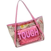 FTSUCQ Womens Casual Tough Tote Transparent Beach Handbag Shoulder Bags Satchels Two-pieces