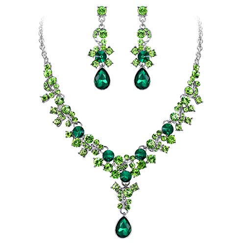 - EVER FAITH Women's Crystal Bridal Banquet Flower Waterdrop Necklace Earrings Set Green Silver-Tone