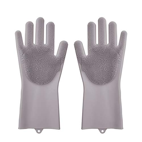 - Silicone Gloves, XINYAN Magic Silicone Dishwashing Gloves with Scrubber Reusable Rubber Gloves for Home Kitchen Bathroom Car Washing (Grey)