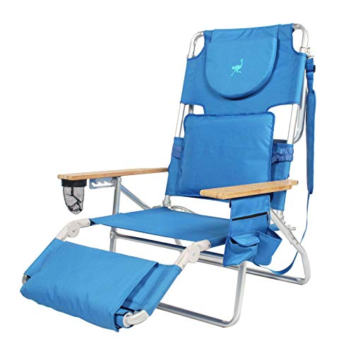 Deluxe Ostrich (BrylaneHome Deluxe Ostrich 3-in-1 Beach Chair - Blue)