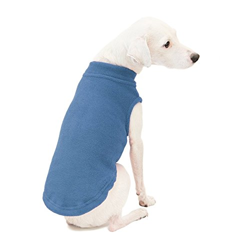 Gooby - Stretch Fleece Vest, Pullover Fleece Vest Jacket Sweater for Dogs, Steel Blue, Large