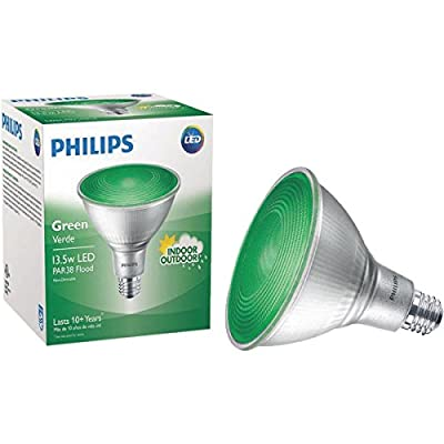 Philips Non-Dimmable 13.5W Green 40° PAR38 LED Bulb, Outdoor and Enclosed Fixture Rated
