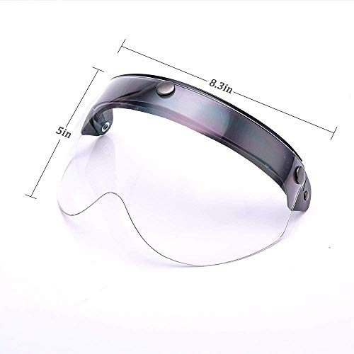 Universal 3 Snap Flip Up Visor Face Shield Lens for Open Face Motorcycle Helmets by MotorFansClub LightSmoke, One Size