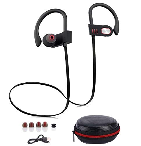 Hongyi Bluetooth Headphones, Wireless Sports Earphones with Mic, Nano-Coating IPX7 Waterproof Earbuds for Gym Workout Running, Noise Cancelling in-Ear Headsets w/Black Carrying Case