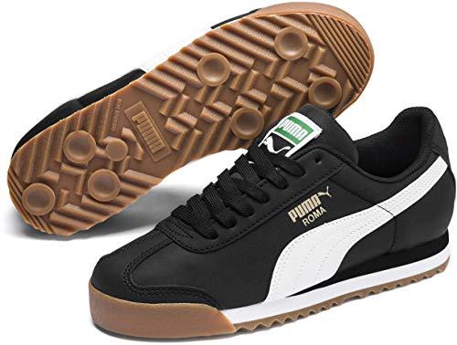 (PUMA Unisex Roma Basic Sneaker, Black White, 4 M US Big Kid)