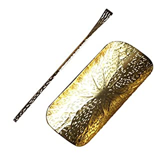 Metallic Asian Style Bamboo Lotus Cloud Tea Scoop Tools Teaspoon Teaware Set - Lotus Leaf Gold