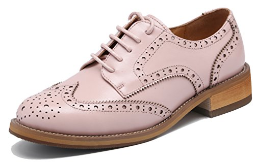 (U-lite Women's Perforated Lace-up Wingtip Leather Flat Oxfords Vintage Oxford Shoes Brogues (8, Pink))