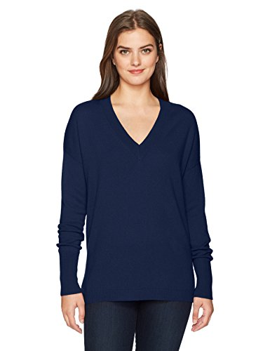 Lark   Ro Womens 100  Cashmere 12 Gauge Slouchy Vneck Pullover Sweater  Midnight Navy  Small