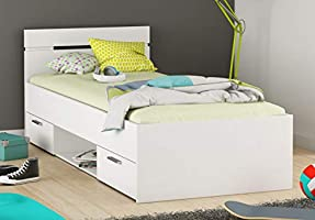 Miroytengo Cama Infantil Juvenil 90x190 diseño con cajones y Hueco Almacenamiento Color Blanco